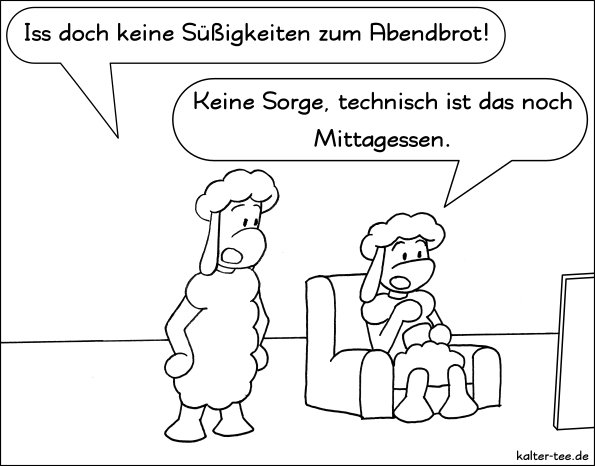 Comic schafe abendbrot