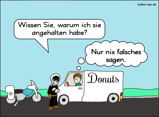 Comic polizeikontrolle donuts