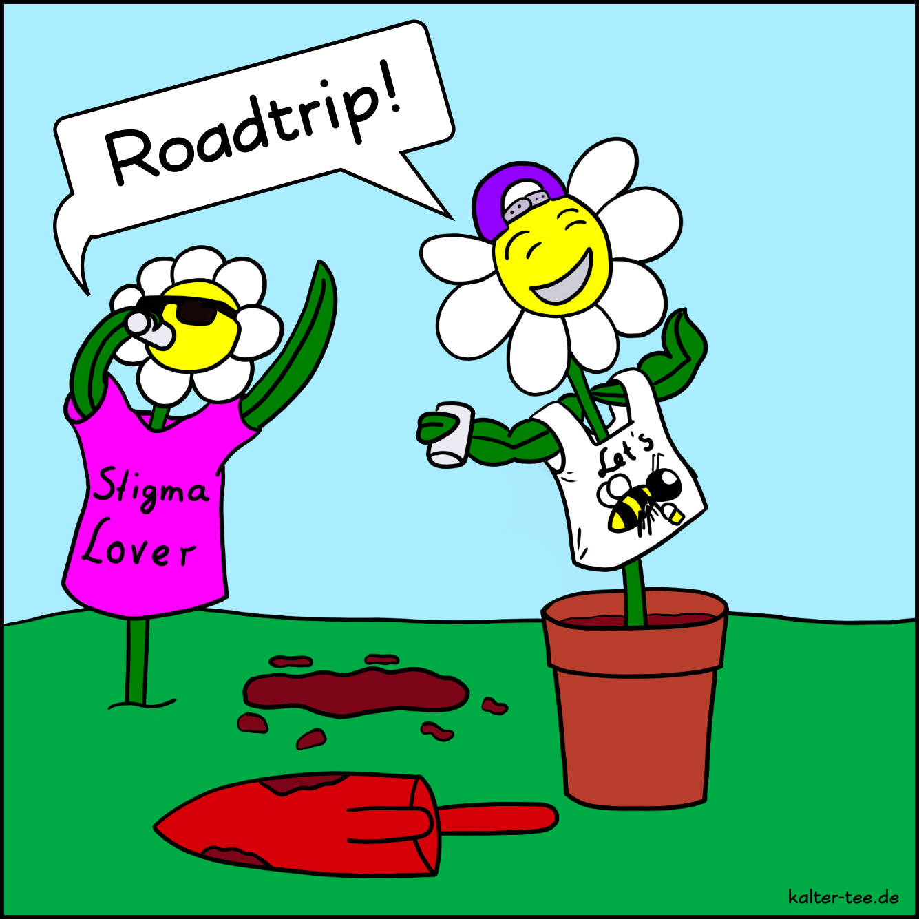 Comic blumen roadtrip deutsch